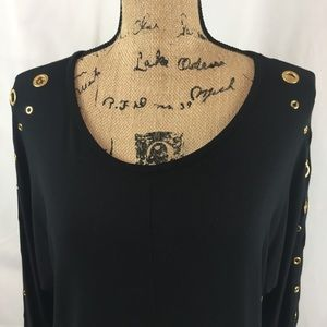 Tops - Black Stretchy Top Brass Grommets on Sleeves